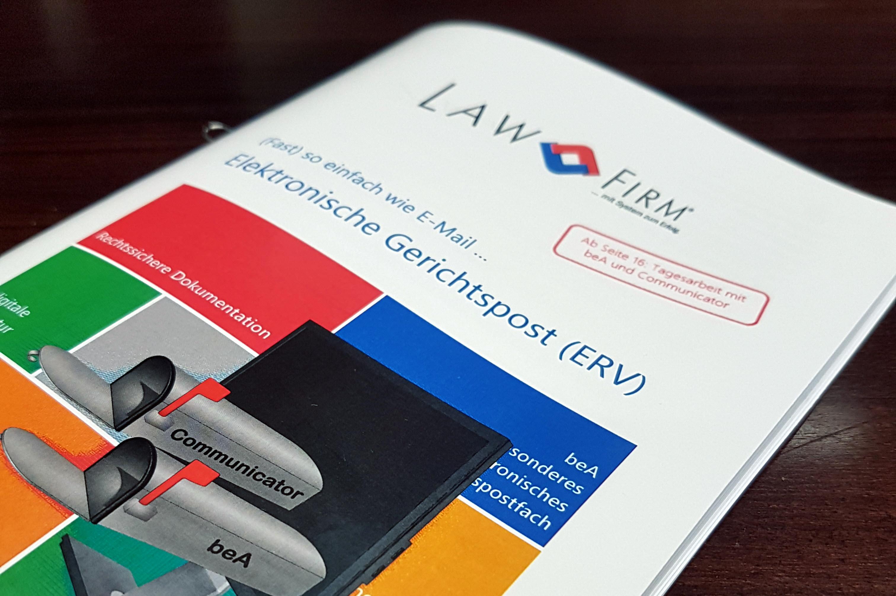 PDF Broschüre (kostenlos zum Download): (fast) so einfach wie E-Mail ... Elektronischer Rechtsverkehr (ERV) / Gerichtspost mit Anwaltspostfach (beA) und Governikus Communicator (EGVP) und der Premium Kanzleisoftware LawFirm für Kanzlei, Rechtsabteilung und Inkasso