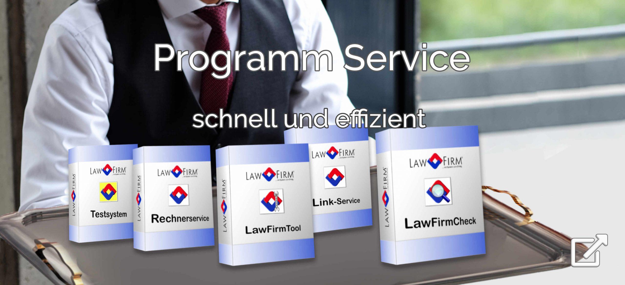 Programm Service – schnell und effizient durch mitgelieferte LawFirm Service-Tools, Kanzleisoftware Hotline gut erreichbar und kompetent. schnelle Lösung fast immer im ersten Telefonat, Rechnercheck, Rechnerservice, Tool für Standardtexte, Vorlagen und Briefkopf