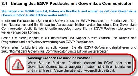 Governikus Communicator Justiz Edition - EGVP Postfach nicht löschen!