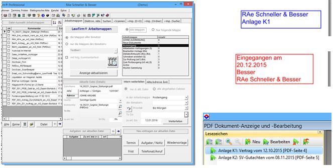Modernes Design Teil2: Dokumentenverwaltungs-Cockpit, Dokumentenmanagement, PDF-Stempel, PDF-Lesezeichen und PDF-Bearbeitung, mobiler Dokumenten-Viewer - Anwaltssoftware Upgrade LawFirm 8.2t