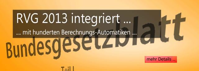RVG 2013 - neue RVG VV Tatbestände, Gebührentabellen, Anrechnungen, viele Abrechnungsautomatiken - Highlights des Anwaltssoftware Updates LawFirm 8.2r
