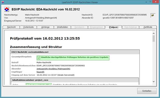 Elektronischer Rechtsverkehr - EGVP Nachrichten-Viewer zur Anzeige von EGVP Eingangsnachrichten mit der Anwaltssoftware LawFirm