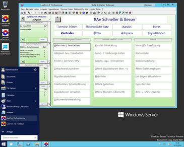 Erster Test mit Windows 10 Technical Preview (Server Version): Die neue Version der Anwaltssoftware LawFirm mit neuem, modernem Benutzeroberflächen-Design wurde bereits erfolgreich getestet.