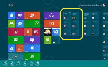 Windows 8 getestet mit der Anwaltssoftware LawFirm - Startbildschirm im Modern UI (ehem. Metro UI)