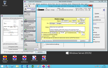 Windows® Server 2012 R2 Kanzleisoftware Tests - Windows Server 2012 R2 Desktop-Oberfläche mit LawFirm® Professional Testsystem und LawFirm® Tool (Word Standardtexte, Briefkopf und Vorlagen)