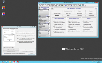 Windows� Server 2012 Kanzleisoftware Labortests - Windows Server 2012 Desktop-Oberfl�che mit LawFirm� Professional Testsystem und LawFirm� Tool (Word Standardtexte, Briefkopf und Vorlagen)
