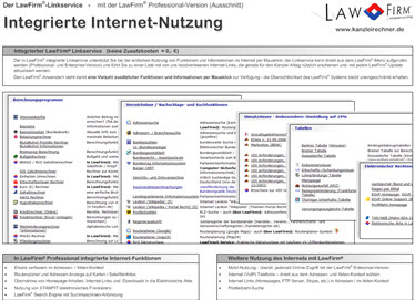 Internet Integraionen in der Kanzleisoftware LawFirm: Know How Suche via Google, PLZ Suche, Routenplaner, Recherche Service, Berechnungen, Tabellen, Nachschlagewerke,  u.v.m.