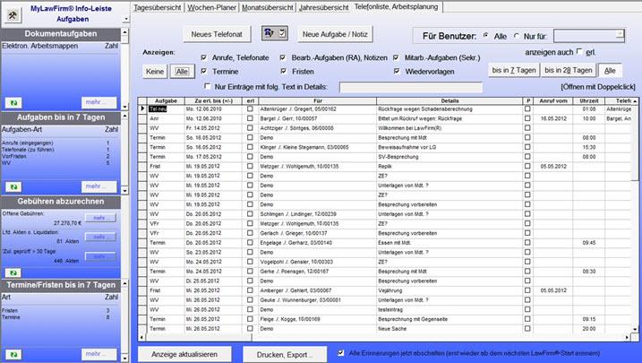 Telefonliste, Arbeitsplanung, Aufgabenmanagement, Teamwork, Kanzlei Workflow, Aufgabenverwaltung, Arbeitslisten, Zeitmanagement in der Premium Anwaltssoftware LawFirm