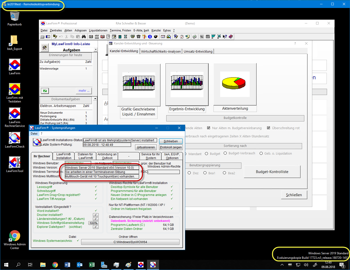 LawFirm mit Windows Server 2019 (Preview-Version) getestet